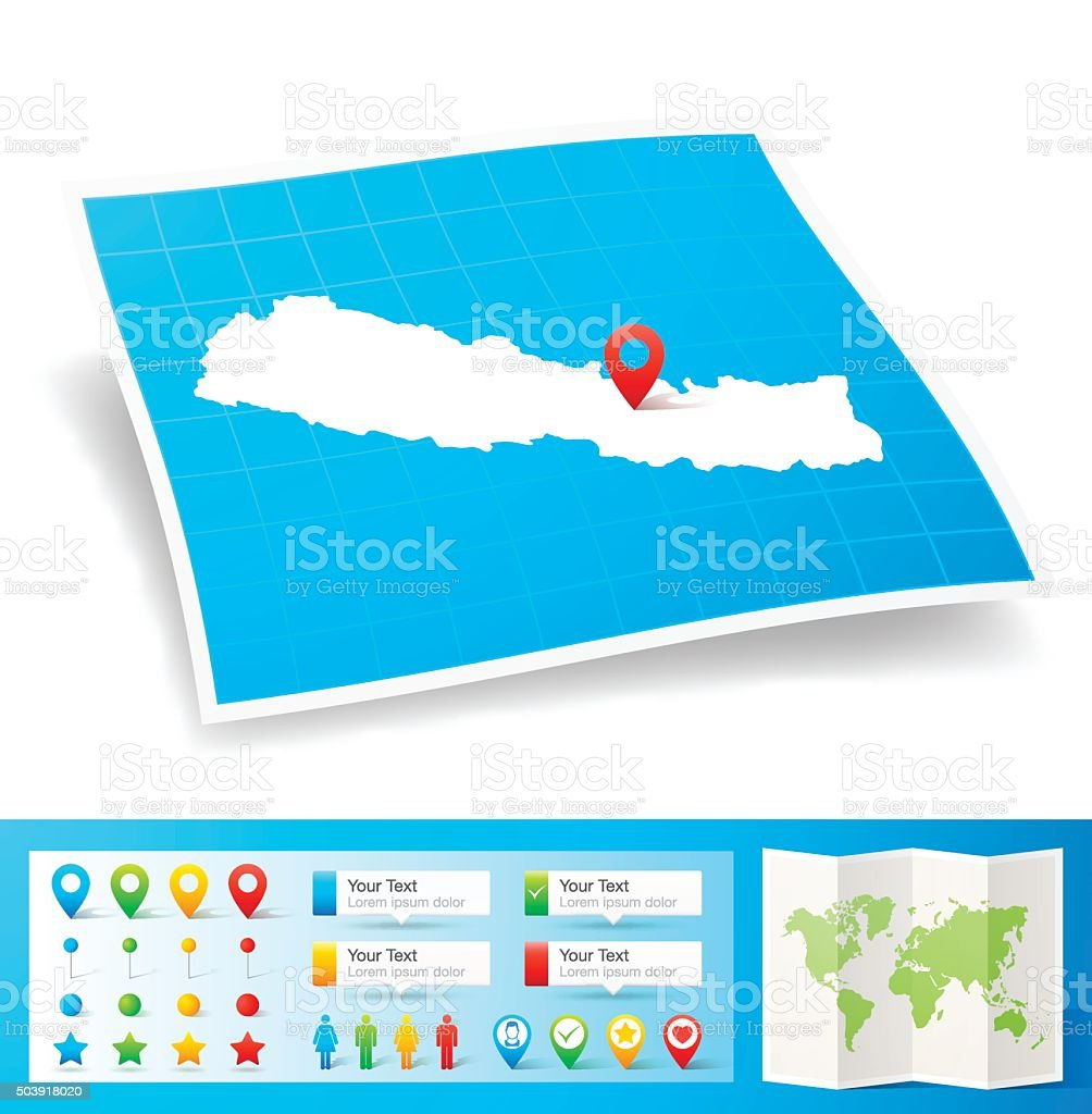Nepal Map with location pins isolated on white Background vector art illustration