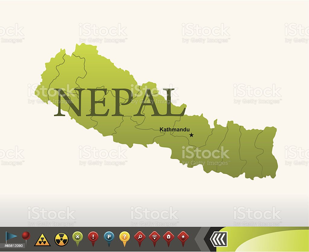 Nepal map with navigation icons vector art illustration