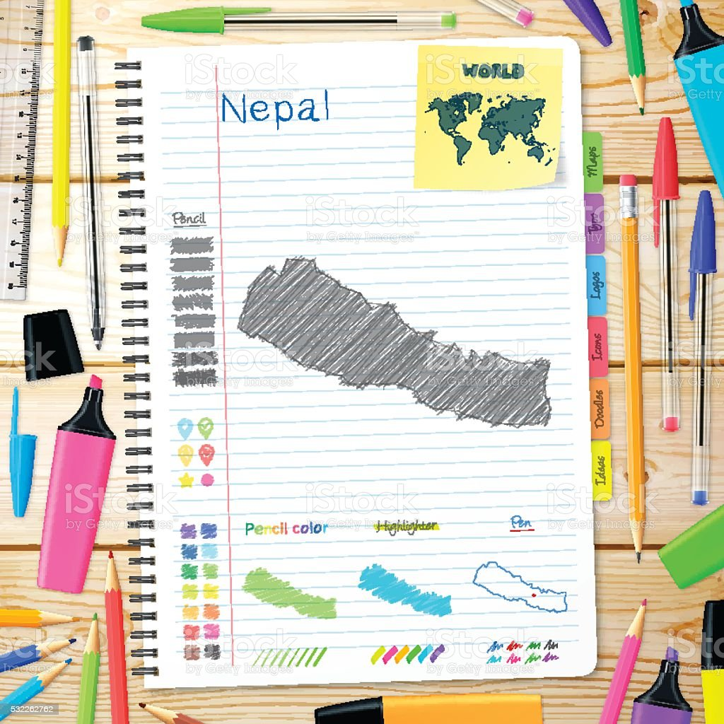 Nepal maps hand drawn on notebook. Wooden Background vector art illustration
