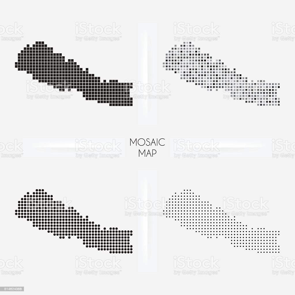 Nepal maps - Mosaic squarred and dotted vector art illustration
