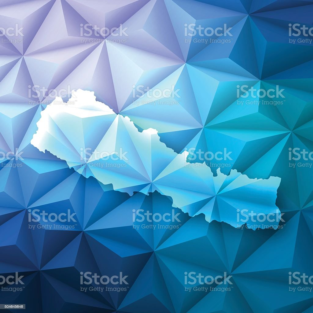 Nepal on Abstract Polygonal Background - Low Poly, Geometric vector art illustration
