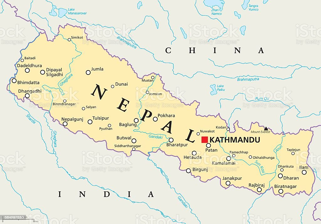 Nepal Political Map vector art illustration