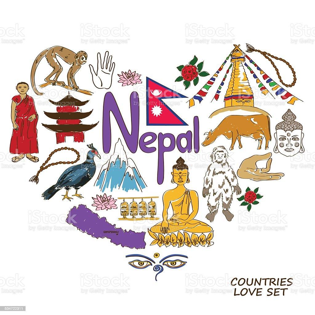 Nepal symbols in heart shape concept vector art illustration