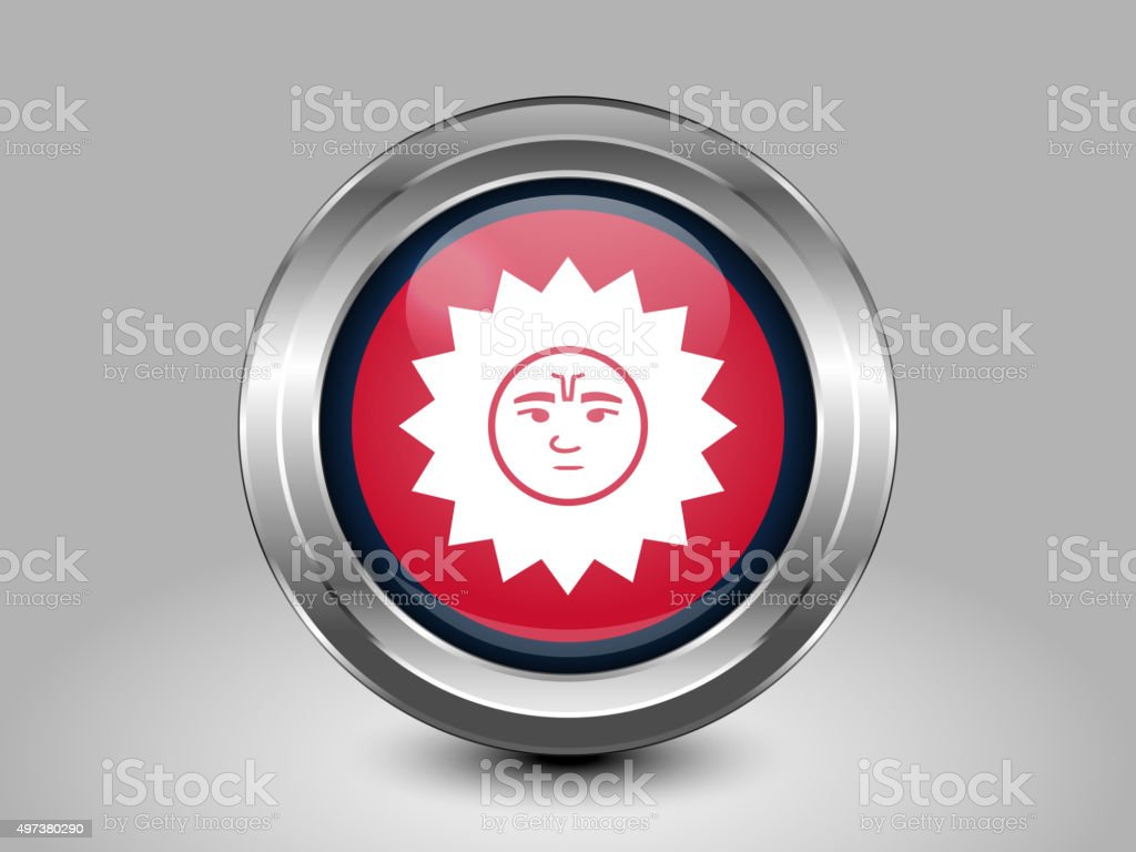 Nepal Variant Flag. Metal Round Icon vector art illustration