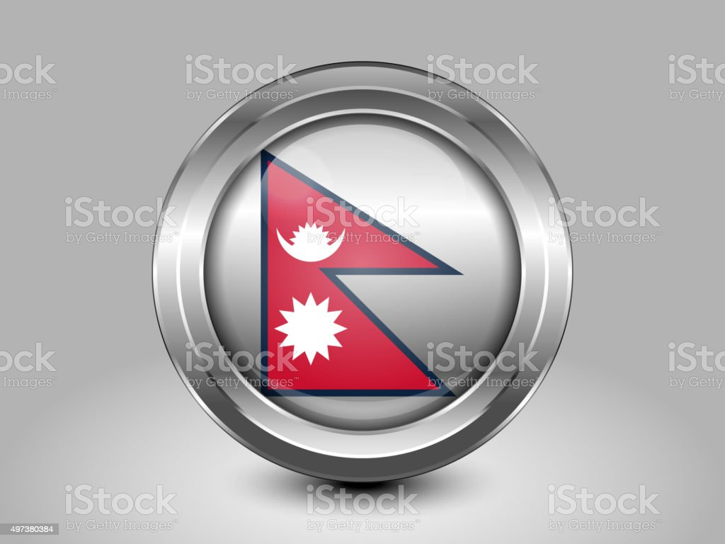 Nepal Variant Flag. Metal Round Icon vector art illustration