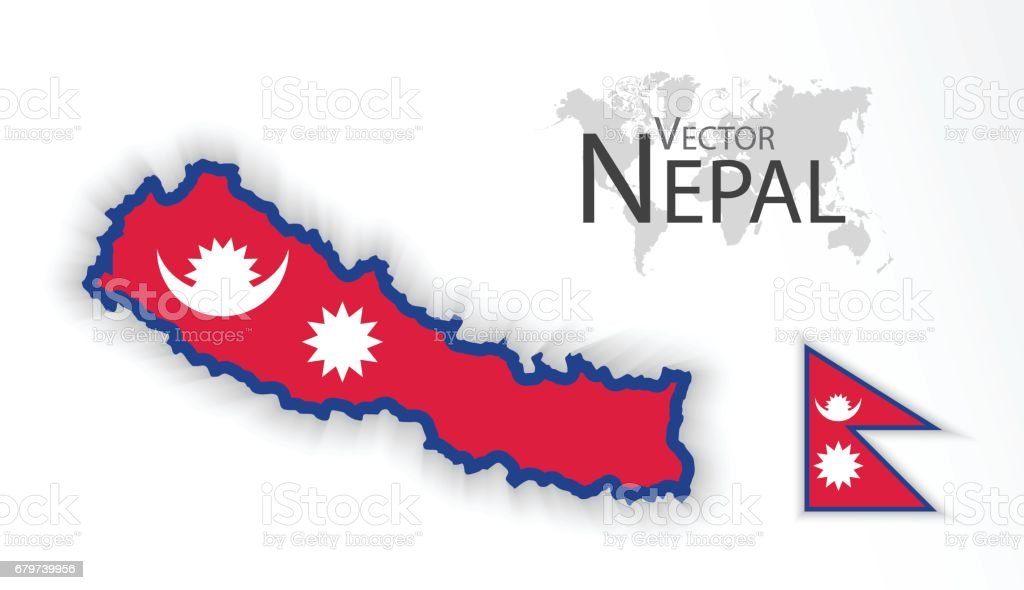 Nepal ( Federal Democratic Republic of Nepal ) ( flag and map ) ( transportation and tourism concept ) vector art illustration