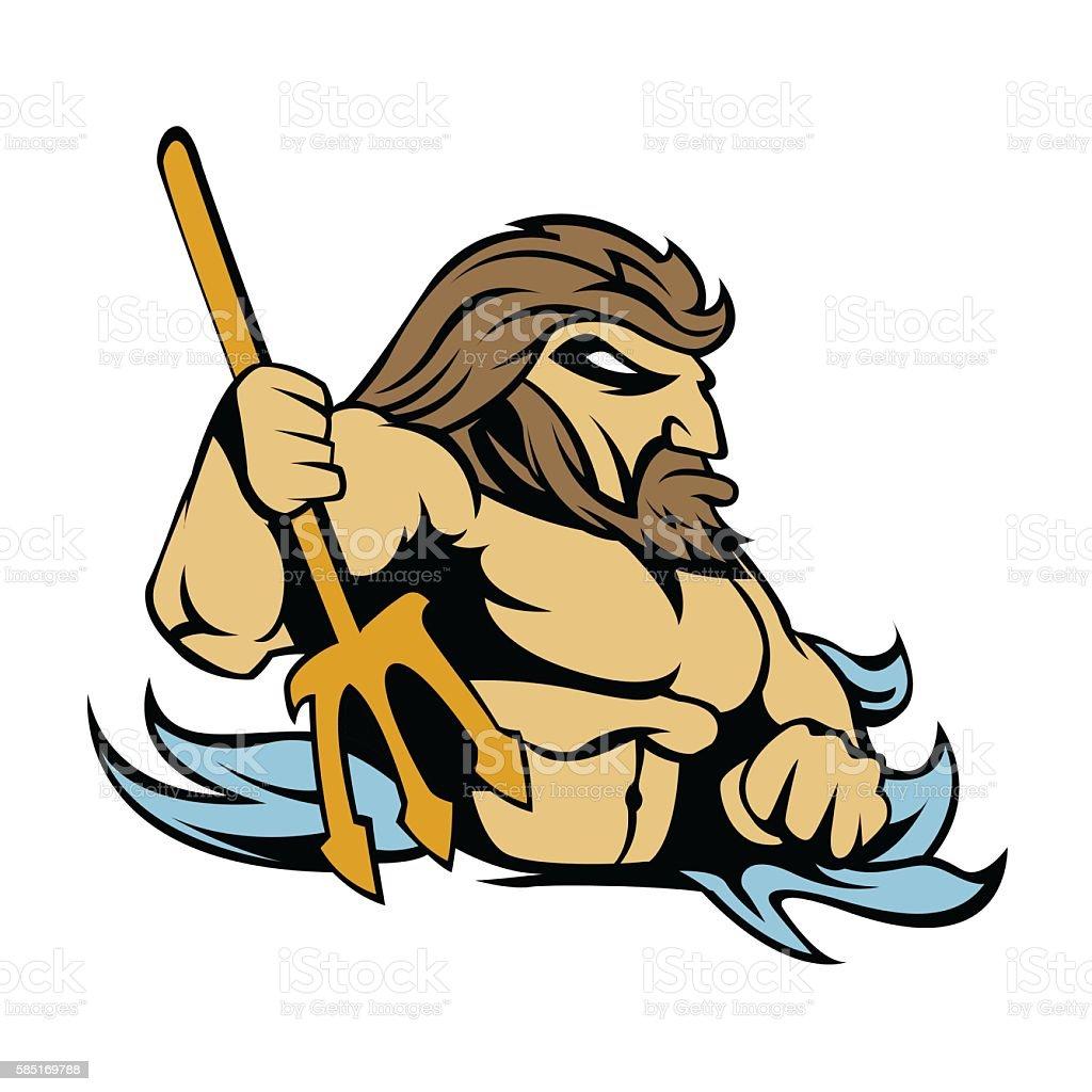 Neptune Poseidon Trident  Retro vector art illustration