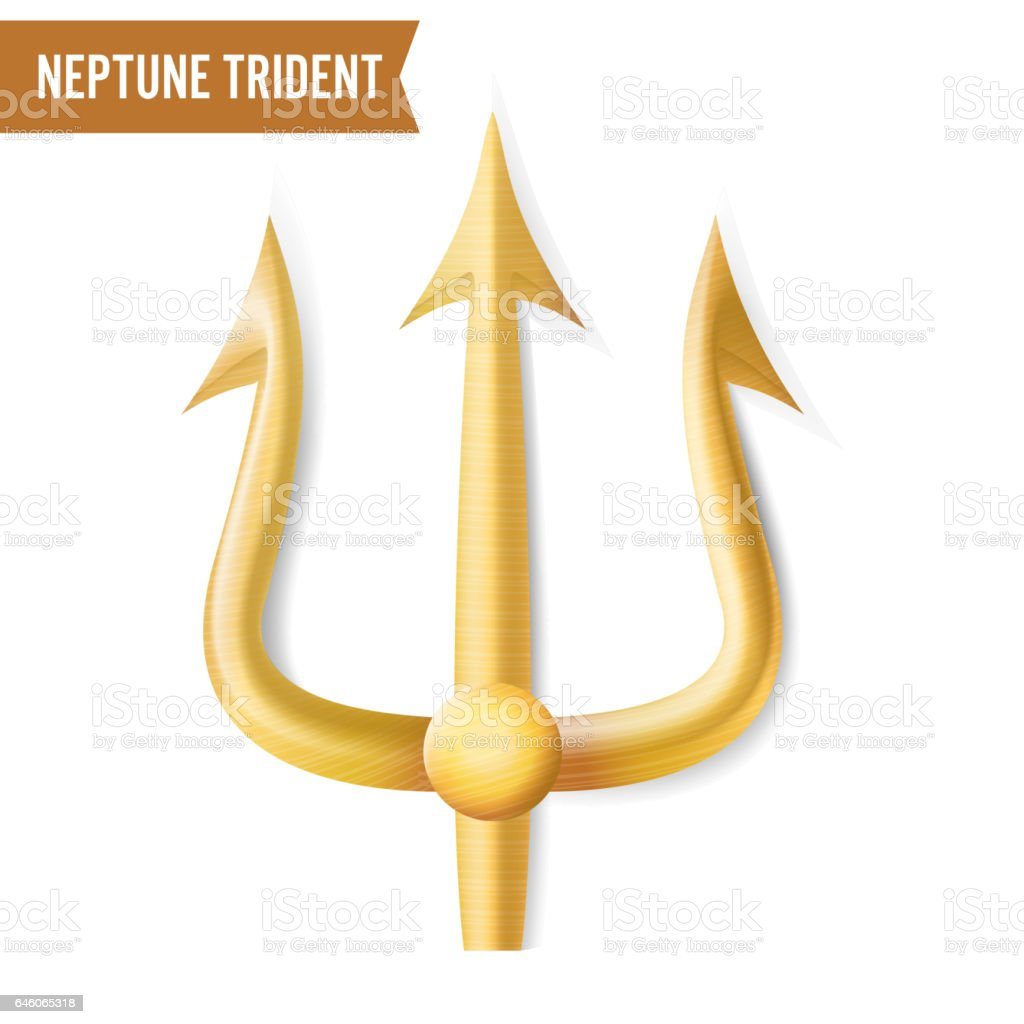 Neptune Trident Vector. Gold Realistic 3D Silhouette Of Neptune Or Poseidon Weapon. Pitchfork Sharp Fork Object. Isolated On White Background vector art illustration