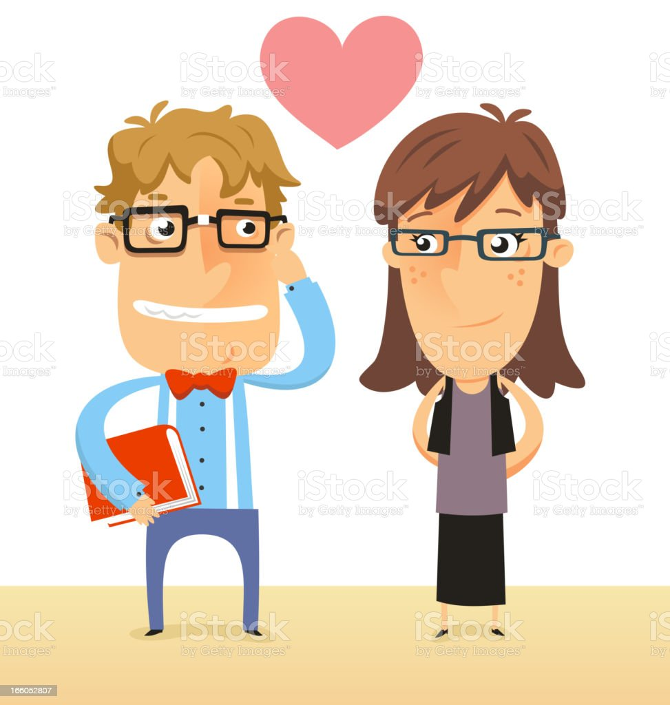 Nerd and Geek couple in love both with thick glasses vector art illustration