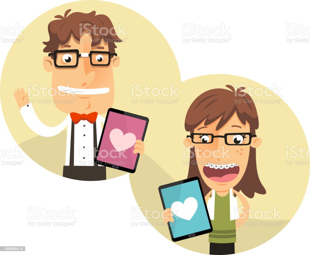 Nerd app for geek couples with thick rimmed glasses vector art illustration