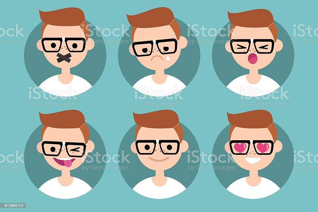 Nerd boy profile pics vector art illustration