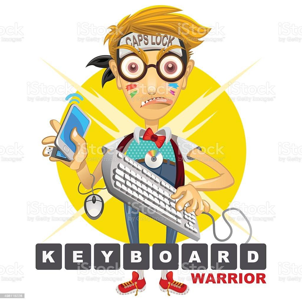 Nerd Geek Keyboard Warrior illustration vector art illustration