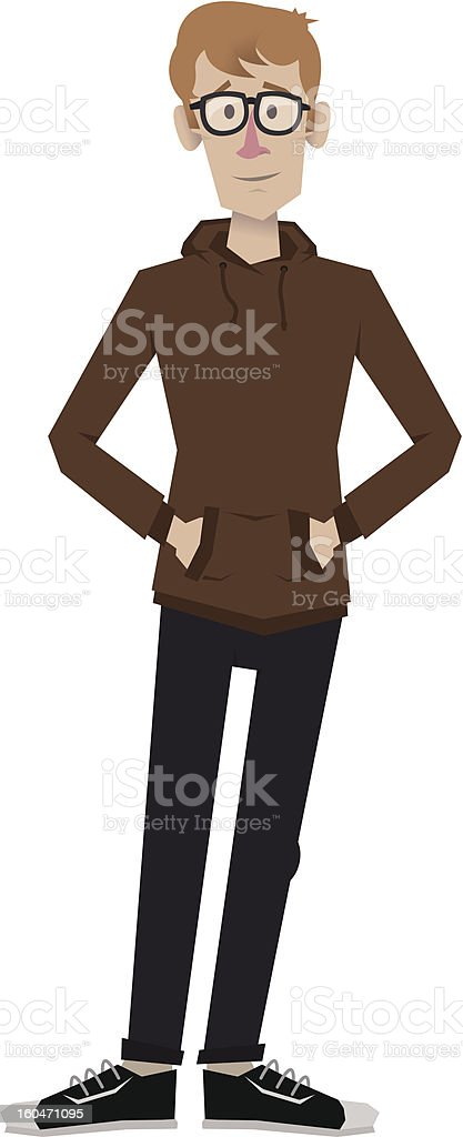 Nerd hands in his pockets vector art illustration