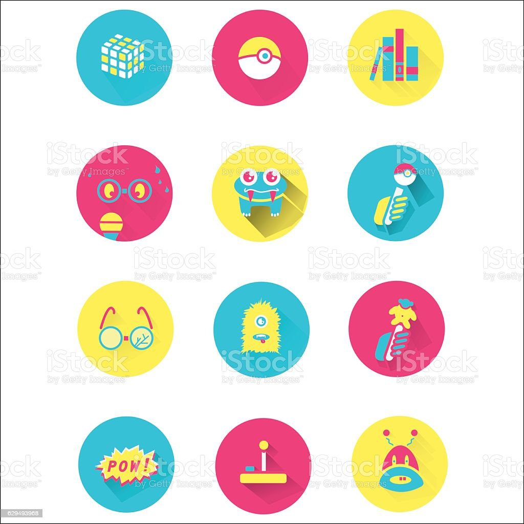 Nerd icon set design vector art illustration