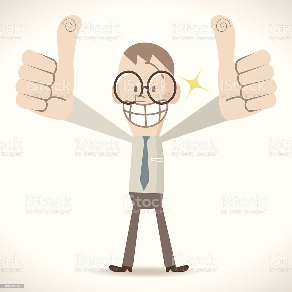 Nerd man Gesturing Thumbs Up vector art illustration