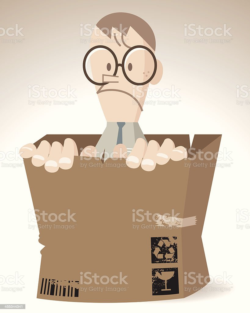Nerd man in a shabby cardboard box royalty-free stock vector art