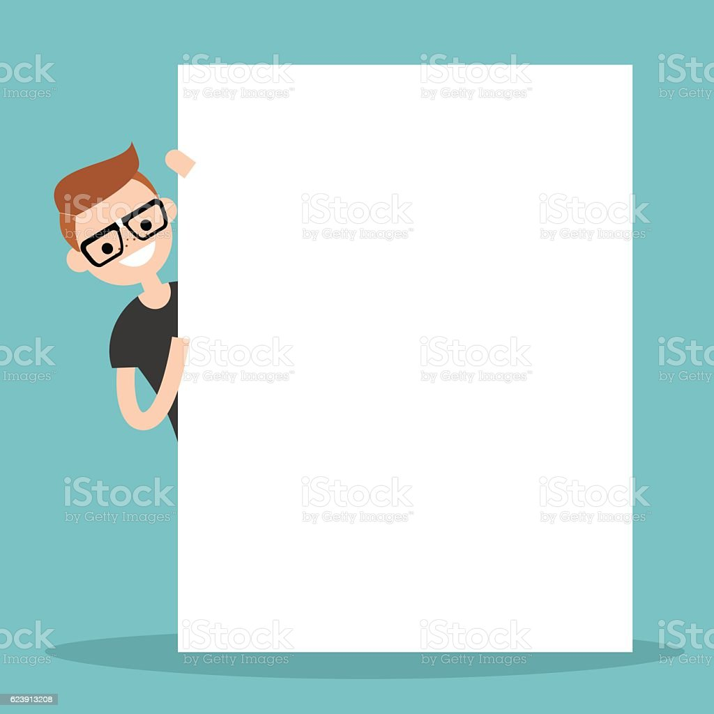 Nerd peeping from behind a blank board mock up vector art illustration
