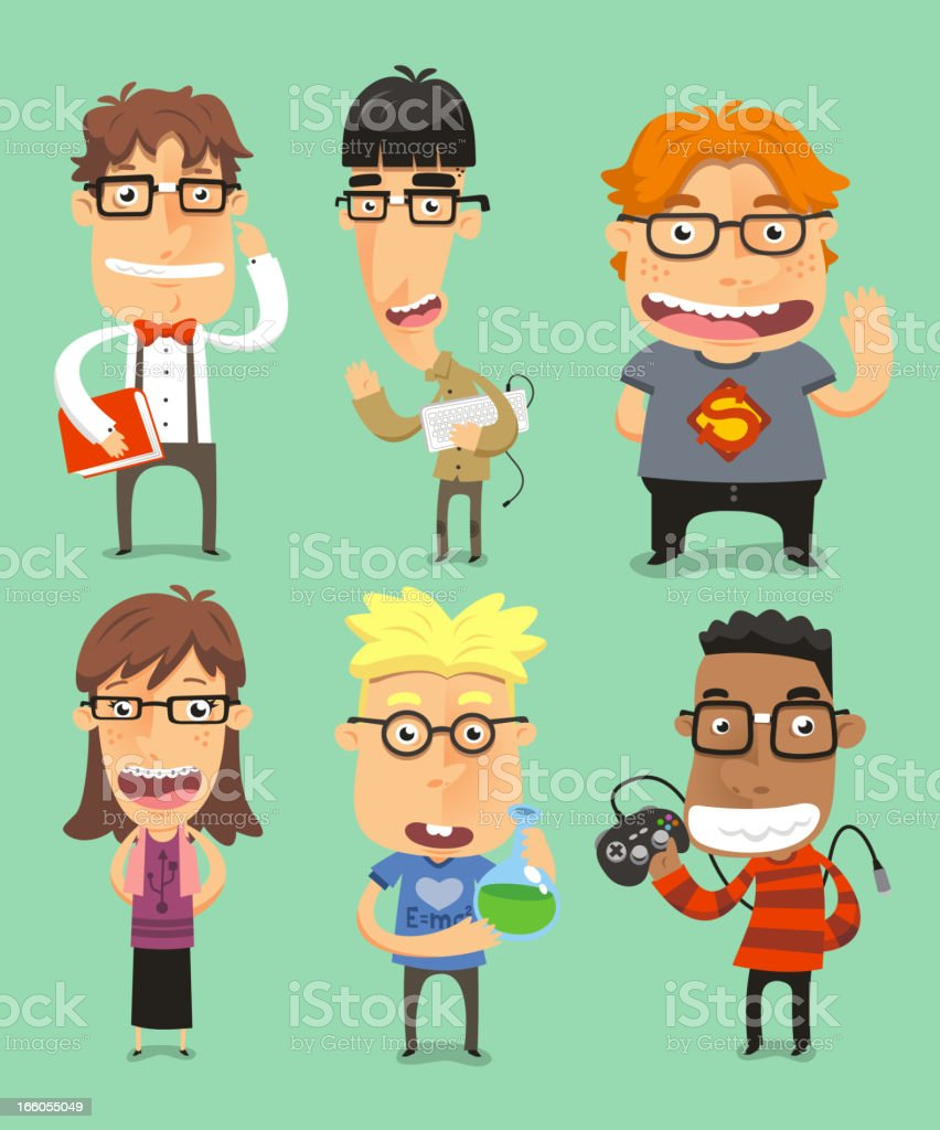 Nerds in geek situations royalty-free stock vector art