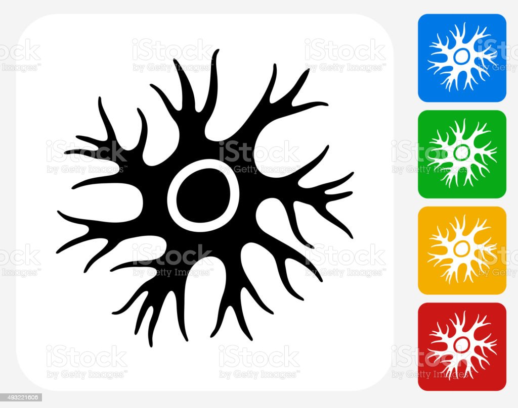 Nerve Cell Icon Flat Graphic Design vector art illustration