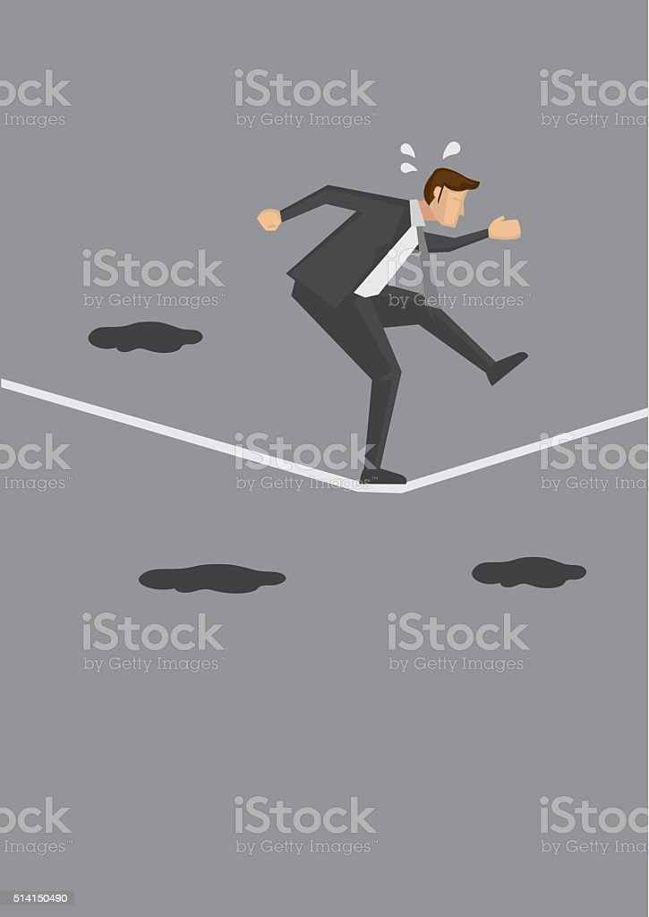 Nervous Businessman Walking a Tightrope vector art illustration