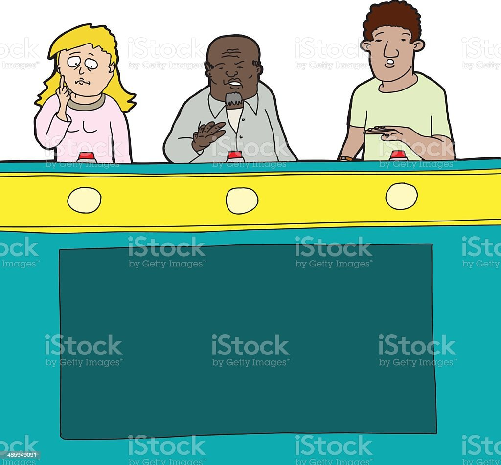 Nervous Game Show Players vector art illustration