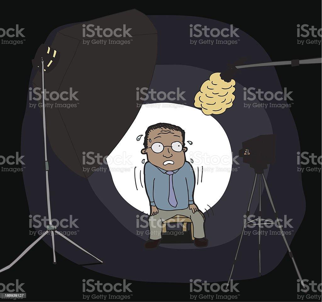 Nervous Man on Camera vector art illustration