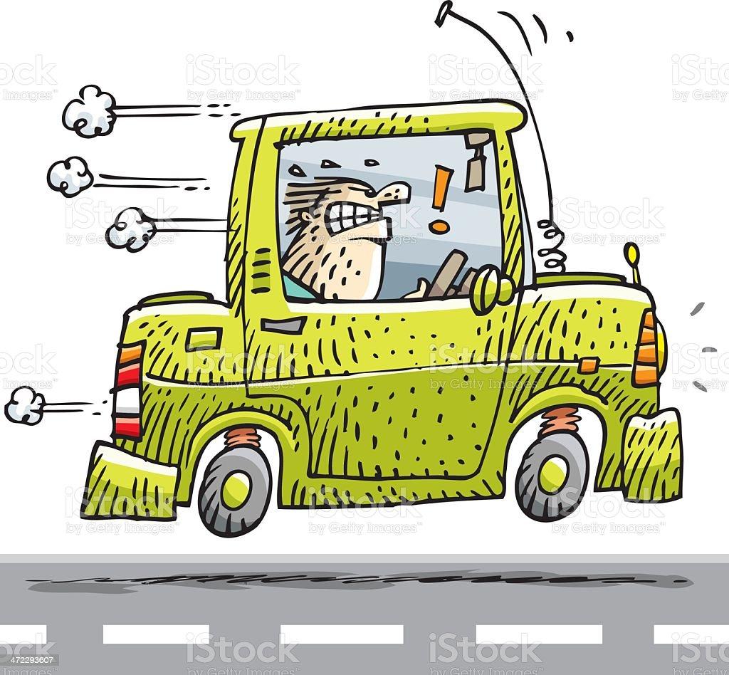 nervous man on the way vector art illustration