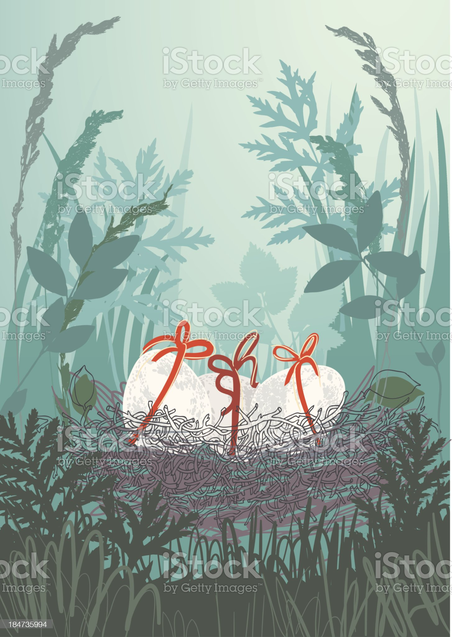 Nest in Grass royalty-free stock vector art