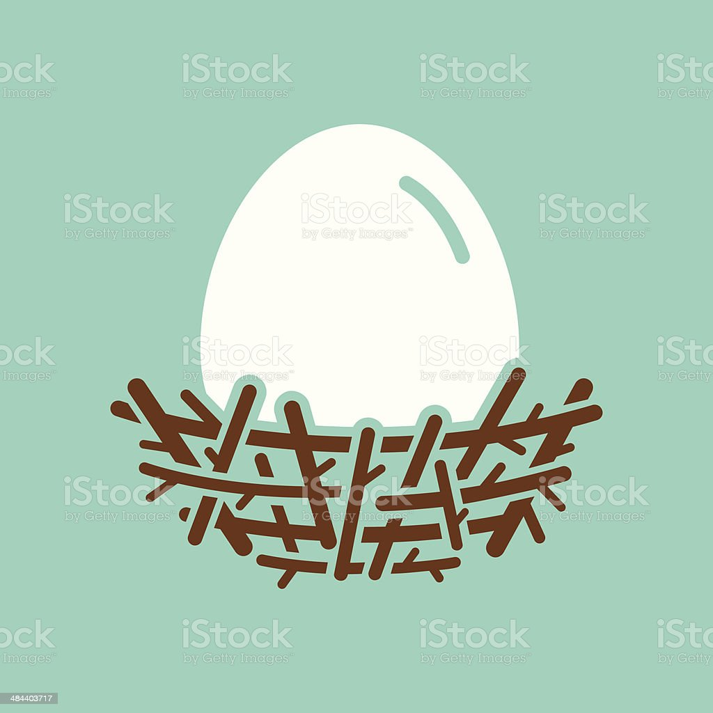 Nest With Egg vector art illustration