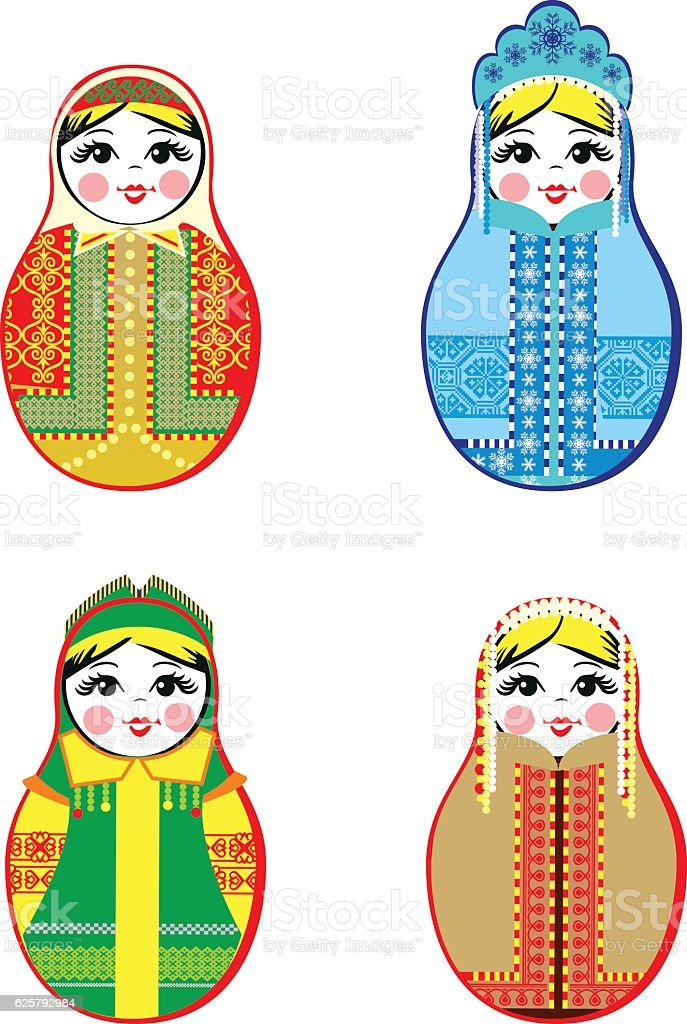 Nested dolls set. Matryoshka with different traditional Russian ornaments. Isolated vector art illustration