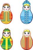 Nested dolls set. Matryoshka with different traditional Russian ornaments. Isolated