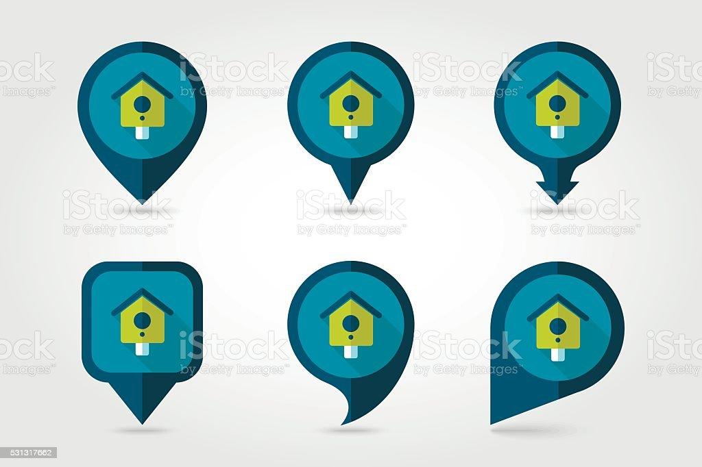 Nesting box, bird-house flat vector pin map icon vector art illustration