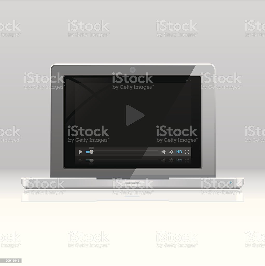 Netbook with media player on screen royalty-free stock vector art
