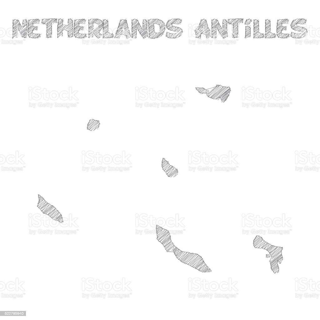 Netherlands Antilles map hand drawn on white background vector art illustration