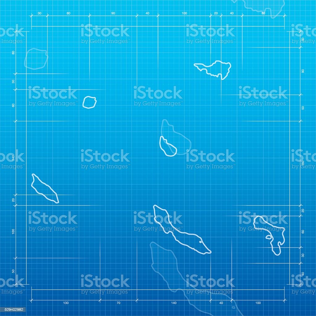 Netherlands Antilles map on blueprint background vector art illustration