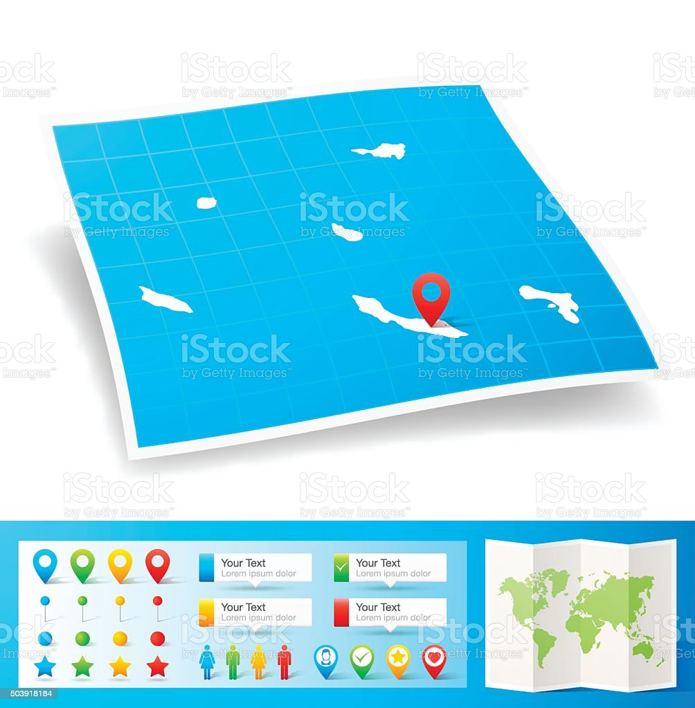 Netherlands Antilles Map with location pins isolated on white Background vector art illustration