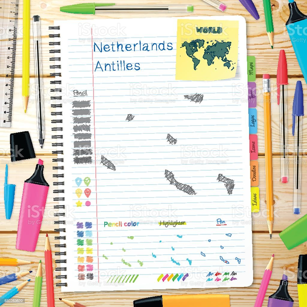 Netherlands Antilles maps hand drawn on notebook. Wooden Background vector art illustration