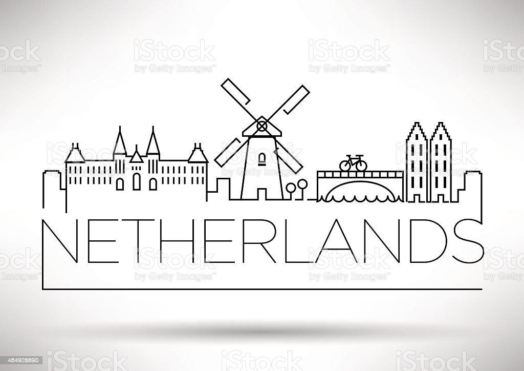 Netherlands City Line Silhouette Typographic Design vector art illustration