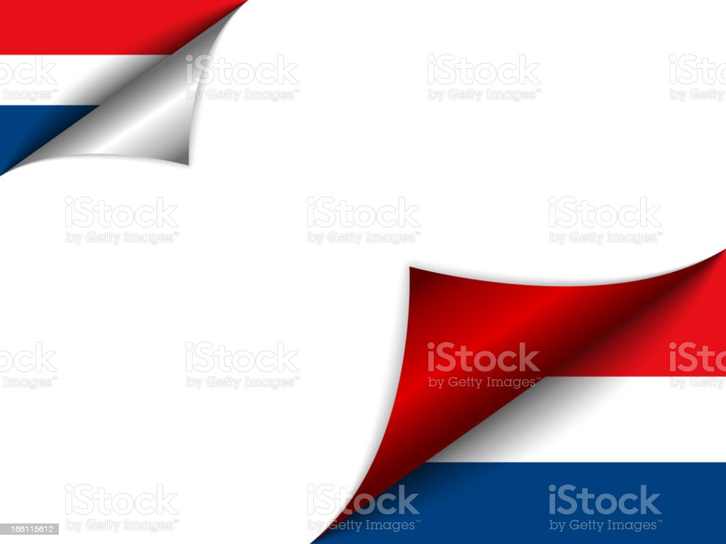 Netherlands Country Flag Turning Page royalty-free stock vector art
