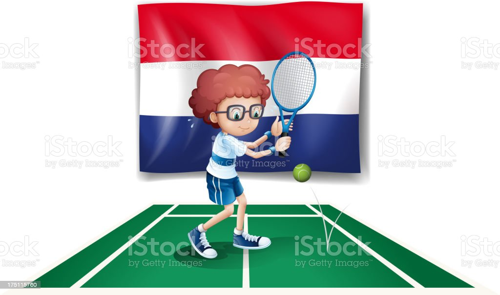 Netherlands flag at the back of a tennis player royalty-free stock vector art