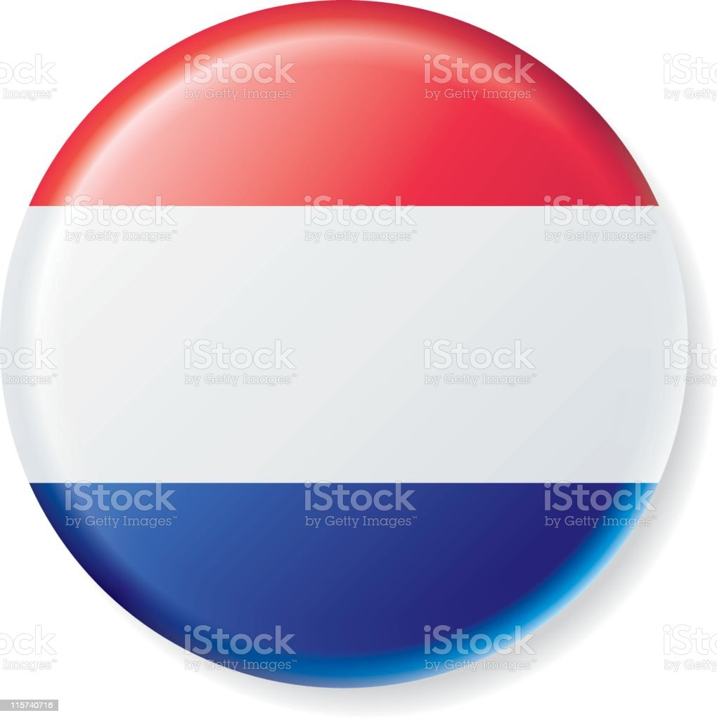Netherlands Flag Satin Button royalty-free stock vector art