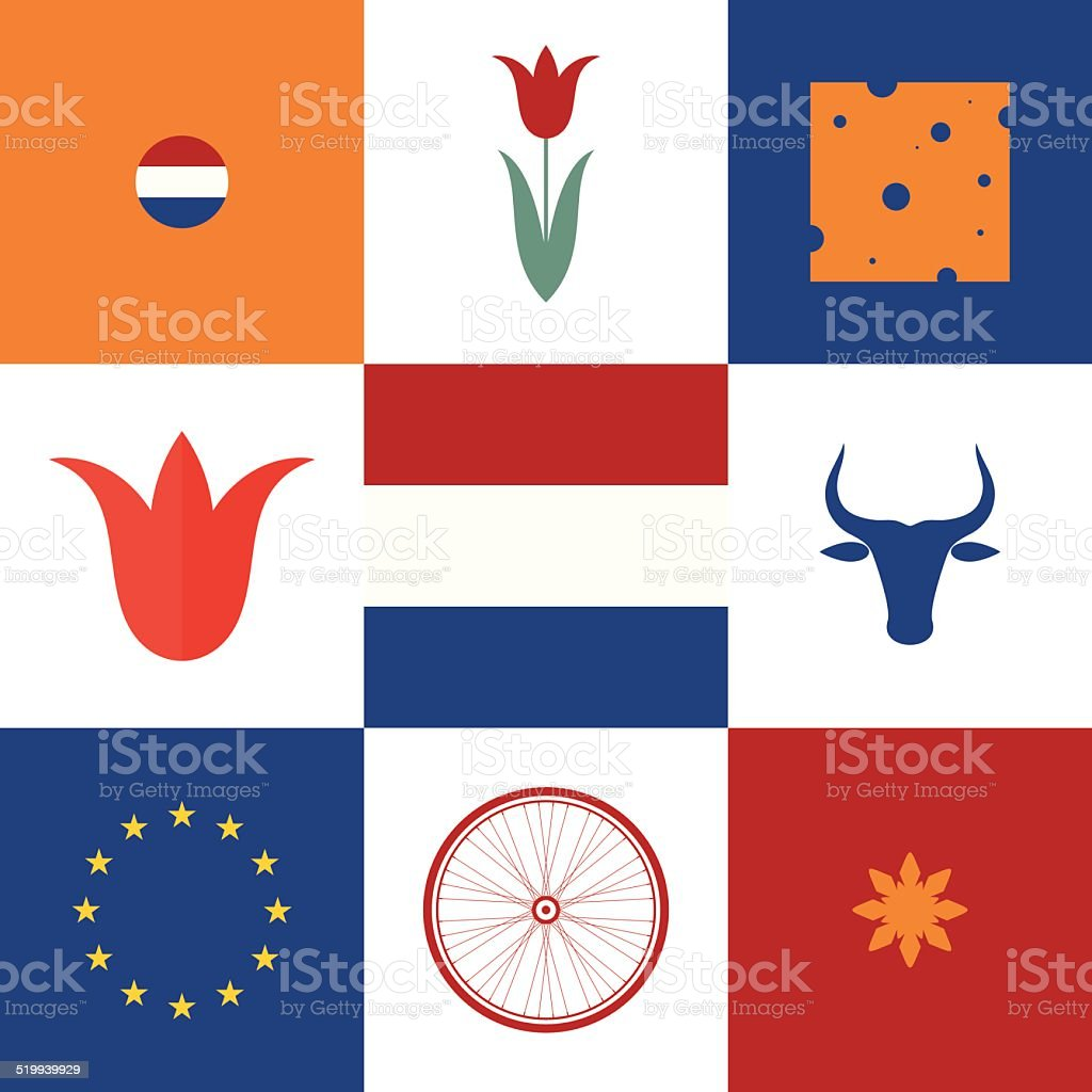 Netherlands. Icon set vector art illustration