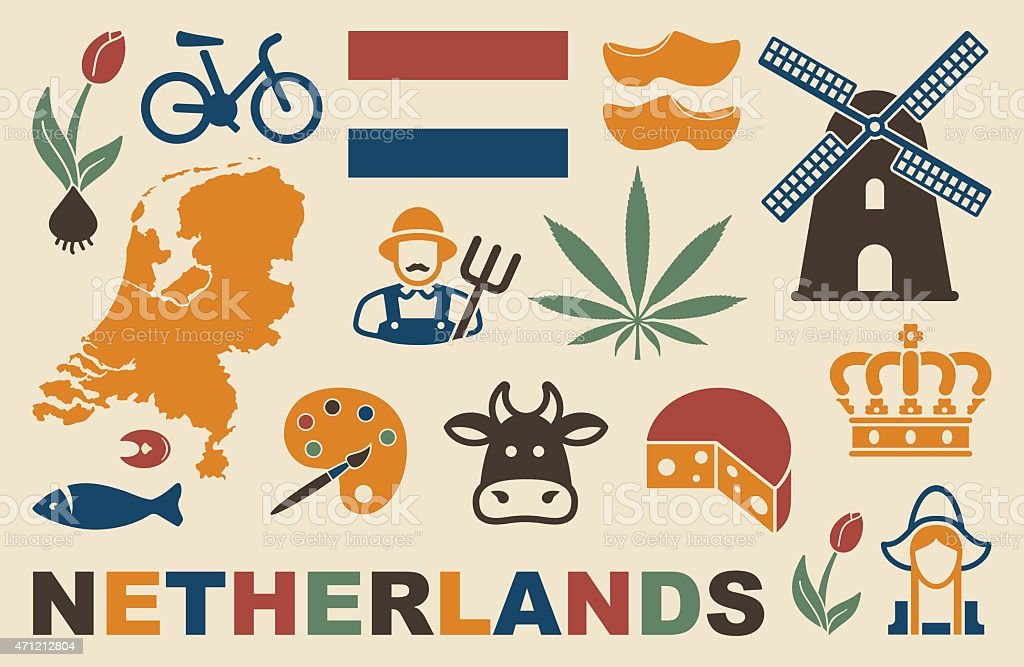 Netherlands icons vector art illustration