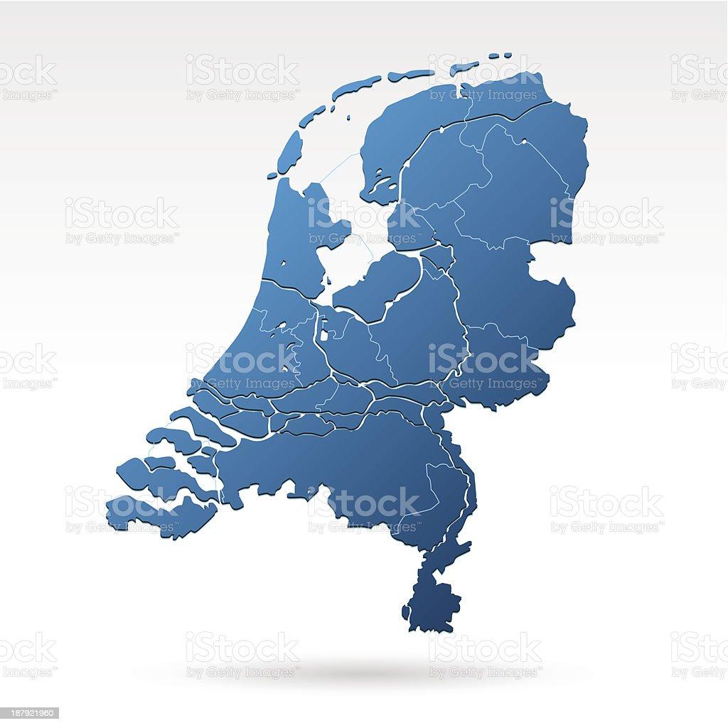 Netherlands map blue royalty-free stock vector art