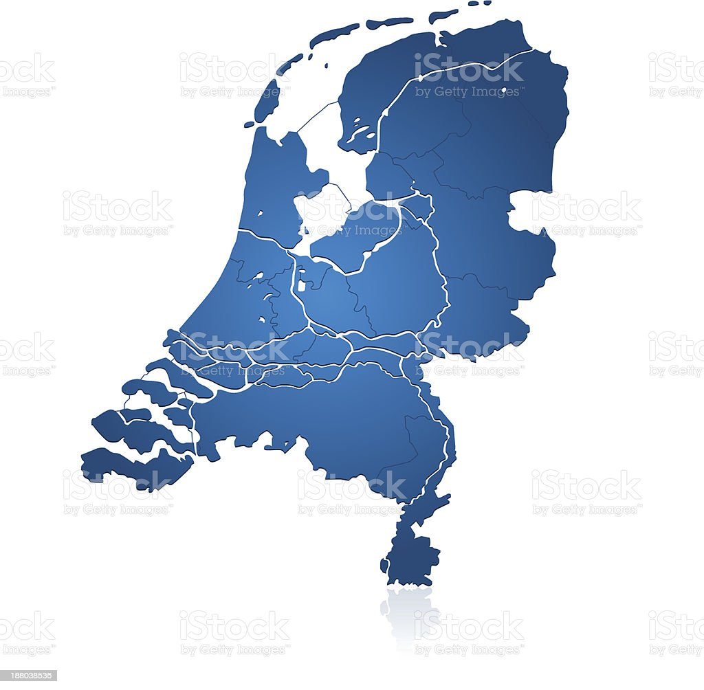 Netherlands map blue royalty-free stock vector art