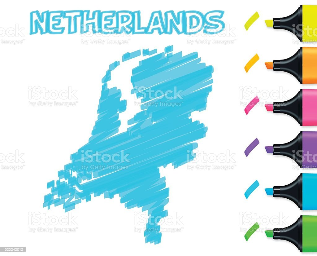 Netherlands map hand drawn on white background, blue highlighter vector art illustration