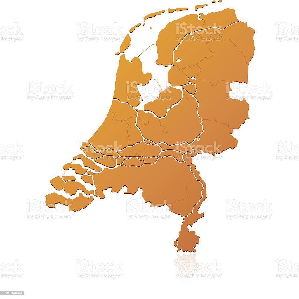 Netherlands map orange royalty-free stock vector art