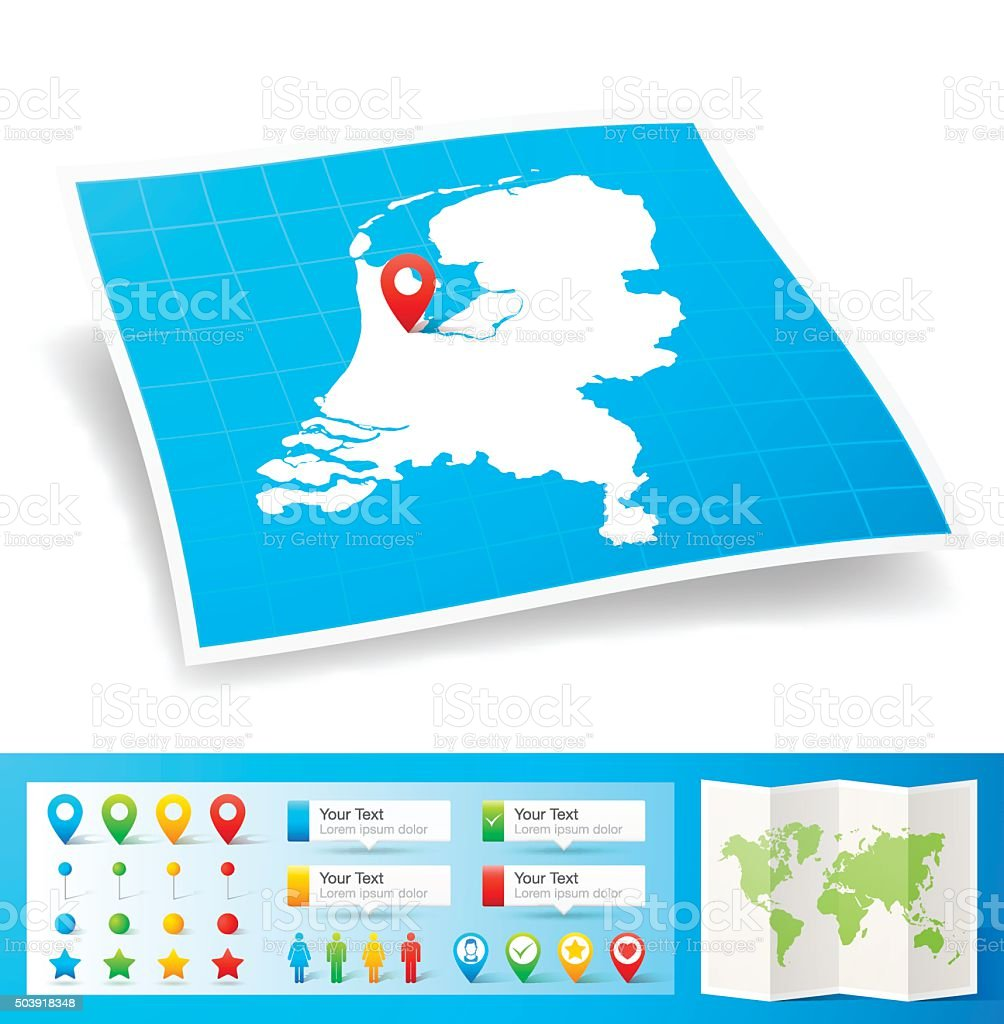 Netherlands Map with location pins isolated on white Background vector art illustration