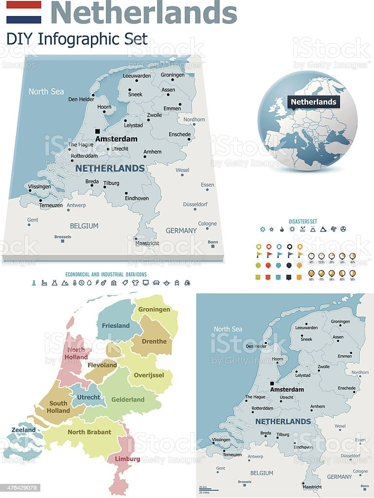 Netherlands maps with markers royalty-free stock vector art