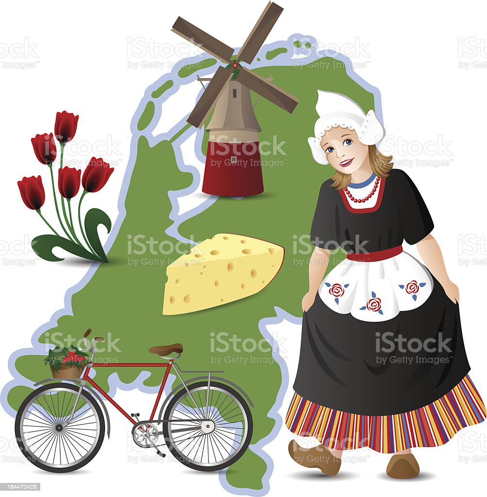 Netherlands related drawings and map vector art illustration